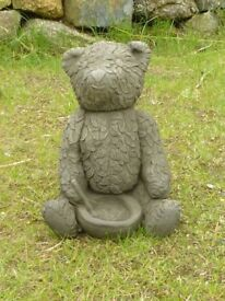 Nice Cheerful Cast Stone Teddy Bear with Bowl Garden Ornament Statue Little Bear