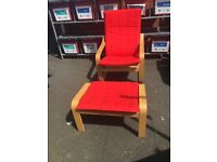 Red recliner chair and foot rest
