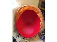 Ikea Spinning Egg Chair red with orange hood