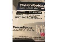 Creamfields standard 4day camping
