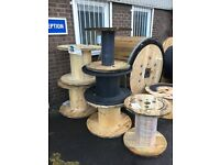Wooden cable drums for up cycle sizes from 600mm to 1600mm good solid drums
