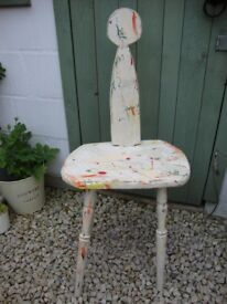 Slim,Characterful,Rustic,Vintage,Chair From An Artists Studio.