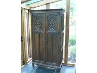"""Used, Antique carved oak wardrobe w 36"""" D 18"""" H 70"""" for sale  Okehampton, Devon"""