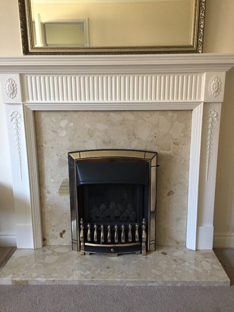 White Painted Fire Surround Marble Hearth And Insert
