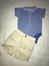 M&S tshirt vest and George shorts Size 3-6 months