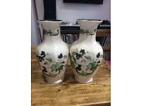 "Pair of 12"" Masons Chartreuse Indian vases"