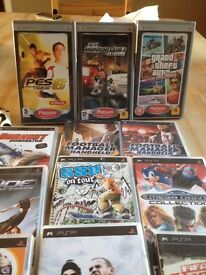 12 PSP Games, grand theft auto vice city+pro evolution 6 midnight club all 3 platinum +