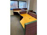 Beech 4 person workstation complete with desk dividers