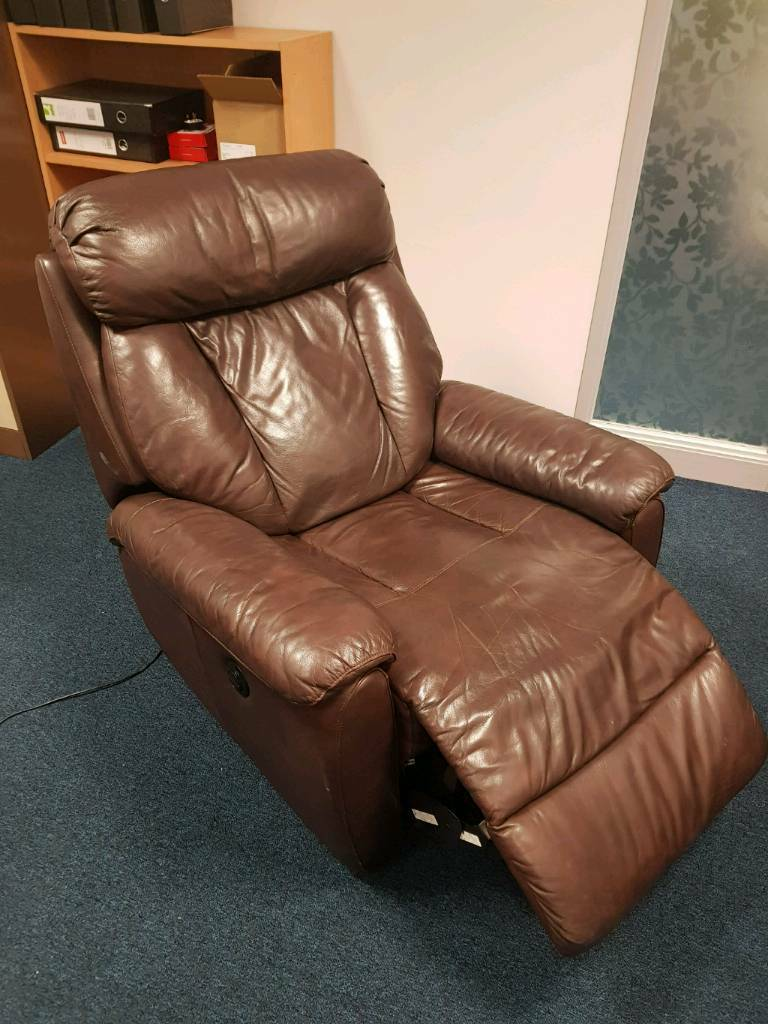 Brown leather electric recliner