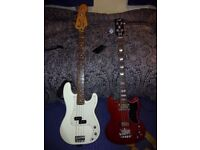 Fender Precision P bass guitar. With hardcase.