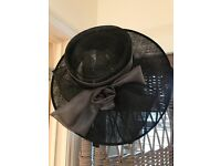 Black and Silver Grey Wedding / Occasion Hat