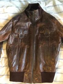 Retro vintage men's brown leather jacket. Great vintage condition.