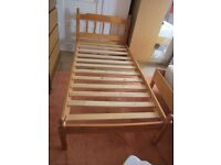 Pine Single bed and mattress - good condition.