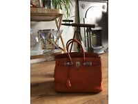 Hermes Birkin Orange Leather Bag