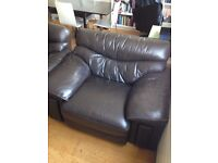 2 Seater Brown Leather Sofa + Matching 1 Seater set
