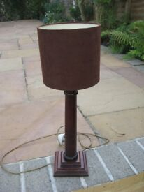 Next Interior Mahogany Wooden Table Lamp with Brand New Brown Velour Lampshade