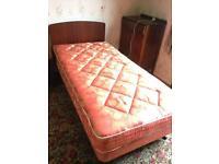 Vintage retro single bed base mattress & headboard in excellent condition