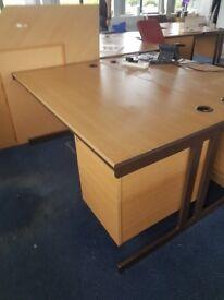 Wood effect office desks with under desk hanging pedestal