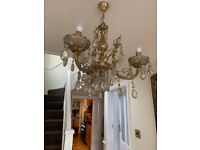 Heavy Brass and Gold Chandelier