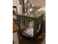 Silver solid wood tables with mosaic glass edges and legs