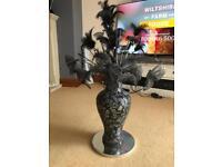 Black mosaic crackle vase 3Ft