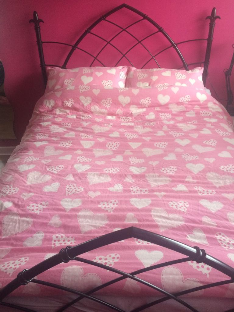Black Metal Double Bed Frame Gothic Style In Bedwas Caerphilly