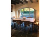 Large six seater farmhouse table and chairs