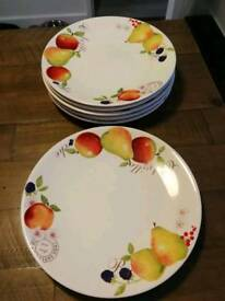 6 country fruits dinner plates