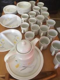 Crockery, plates, cups, saucers, bowls, side plates, teapot