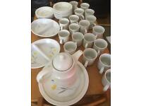 Crockery, plates, cups, saucers, bowls, side plates, teapot