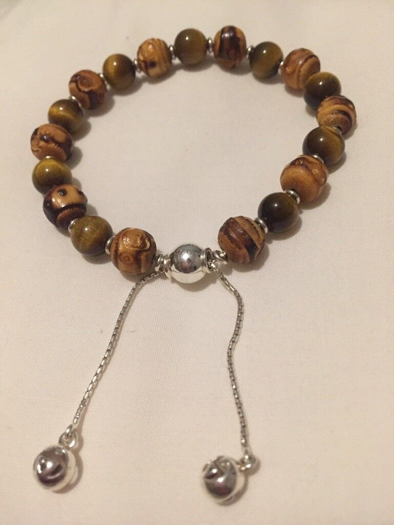 5521e2eed Brand New Sterling Silver Gucci Bracelet with Tiger Eye and Bamboo Beads