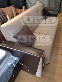 BRAND NEW 3 SEATER FABRIC STORAGE SOFA BED, LEATHER SETTEE SOFABED - BROWN and CREAM COLOUR