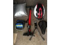Bike accessories (gel seat cover, pump, multi bike cover, helmet, pouch, double-leg stand)