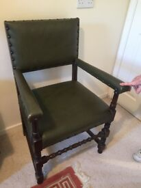 Racing Green leather chair with studded features