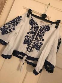 Ladies blue & white floral Bardot top