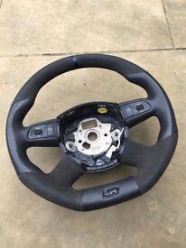 Audi A4 B7 Four Spoke Custom Trimmed Steering Wheel Multifunction 4F0419091B 1KT