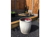 VINTAGE GALVANISED DOLLY PLANT POT