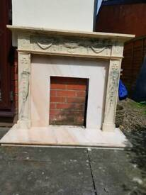 MARBLE EFFECT FIRE SURROUND COMPLETE