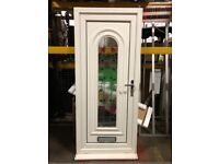 White UPVC Exterior stained glass Door
