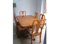 Cherry wood dining and table 6 chairs 172x125cm