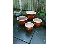 Set of 4 Glazed Garden Pots