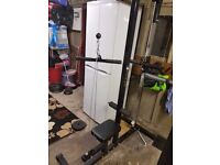 Multiple gym equipment benches and weight