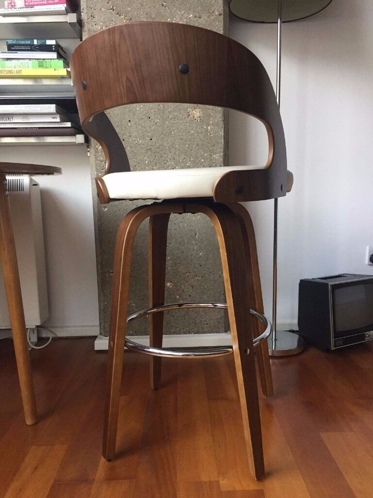 Alicia Walnut Bar Stool Chair Cream In Islington London