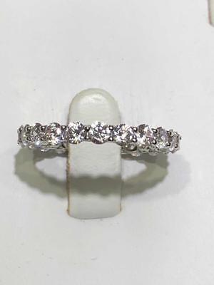 Platinum Sterling Silver White Sapphire Eternity Design 3mm Wide Band Ring (Platinum Design Band)
