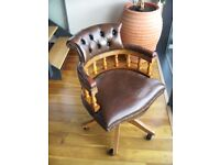 Good Quality Old Captains Chair in Brown Leather