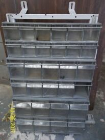 VAN RACK WITH PLASTIC BINS AND LOCKABLE COMPARTMENT