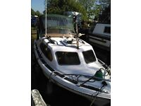 Shetland 535 Cabin Cruiser Boat with Evinrude 15hp Outboard with Trailer