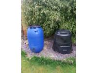 Water barrel with tap & compost barrel