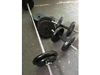 Barbell/Dumbbell Weights Kit 42Kg Rubberised BodyMax