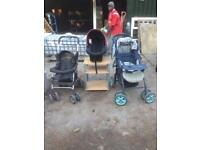 2 pushchairs and car baby seat